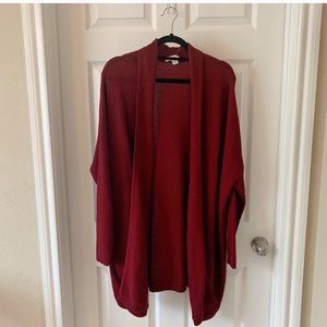 Sejour dark red open front sweater cardigan